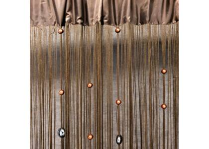 Koralik gyöngyös spagetti függöny Barna 140 x 250 cm - HS25811