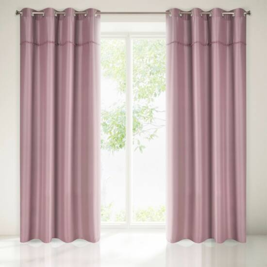 Defne pomponos sötétítő függöny Sötét rózsaszín 135 x 260 cm